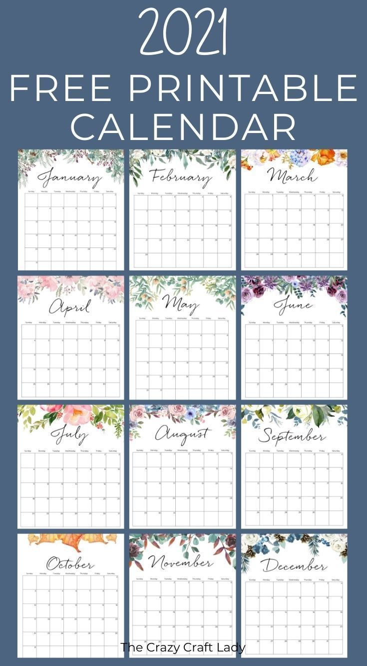 2021 Free Printable Floral Wall Calendar in 2020 Wall