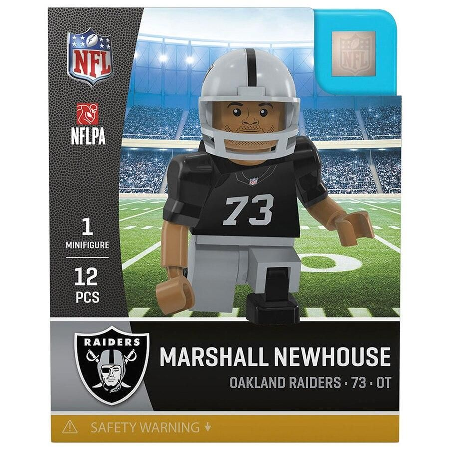 Up for sale is a Marshall Newhouse Oakland Raiders NFL Player minifigure by Oyo Sports. This Marshall Newhouse Oakland Raiders mini figure comes new in original packaging and has accessories include Raiders Football Helmet and is 12 Pcs. Marshall Newhouse played College Football at TCU. Marshall Newhouse was selected in the 5th round pick 169 overall by the Green Bay Packers in the 2010 NFL Draft. Marshall Newhouse has won a Super Bowl with the Green bay Packers.. The Marshall Newhouse Oakland R
