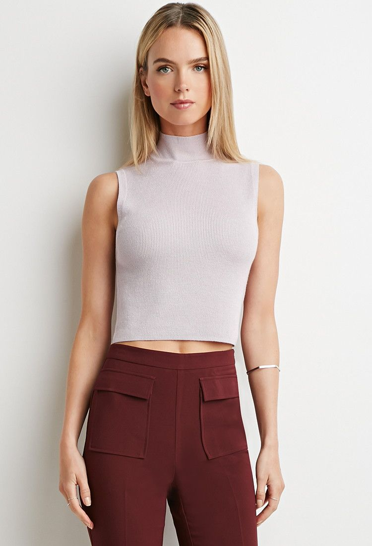 Ribbed Mock Neck Top | Forever 21 | in lavender and/or heather grey