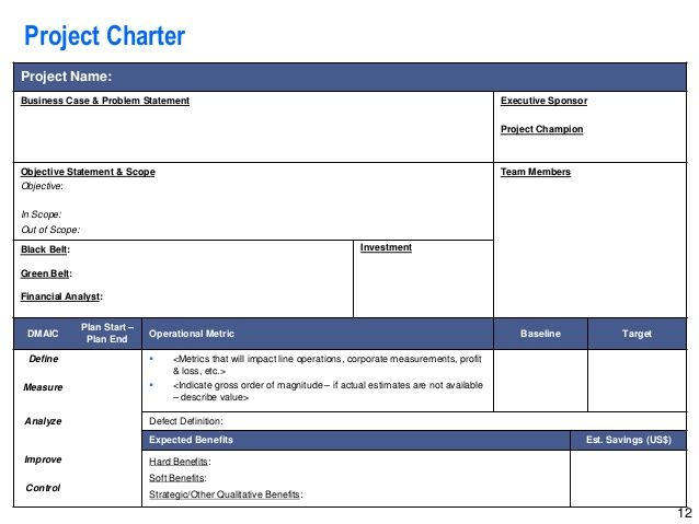 Lean Six Sigma Storyboard Template By Operational Excellence Consulti Project Charter Agile Project Management Templates Excel Templates Project Management