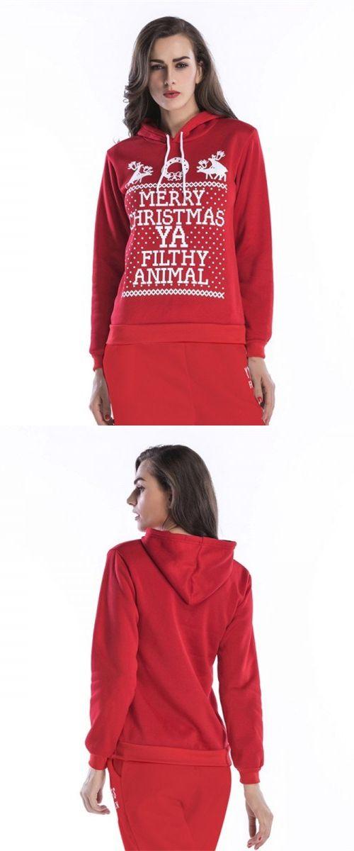 Reindeer Letter Printed Drawstring Red Hooded Sweatshirt Merry