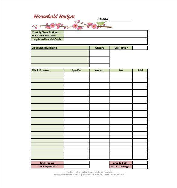 sample household budgets