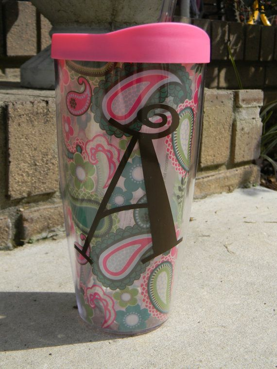 22 oz Pink Paisley DoubleWall Tumbler by UPersonalized on Etsy, $15.00
