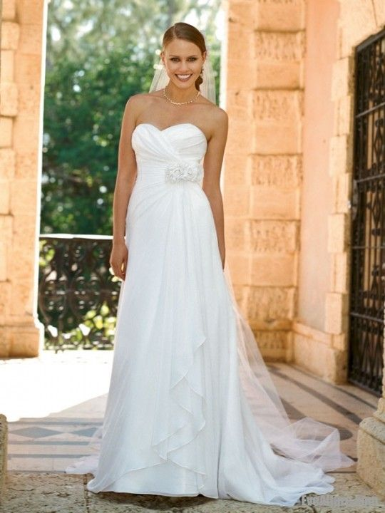 A-line Strapless Sweetheart Sweep/Brush Train Chiffon Wedding Dress with 3D Flowers