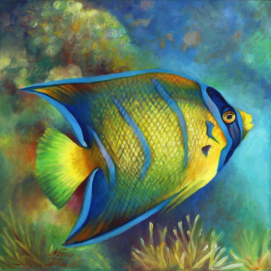 Juvenile Queen Angel Fish In 2020 Fish Art Watercolor Fish Sea