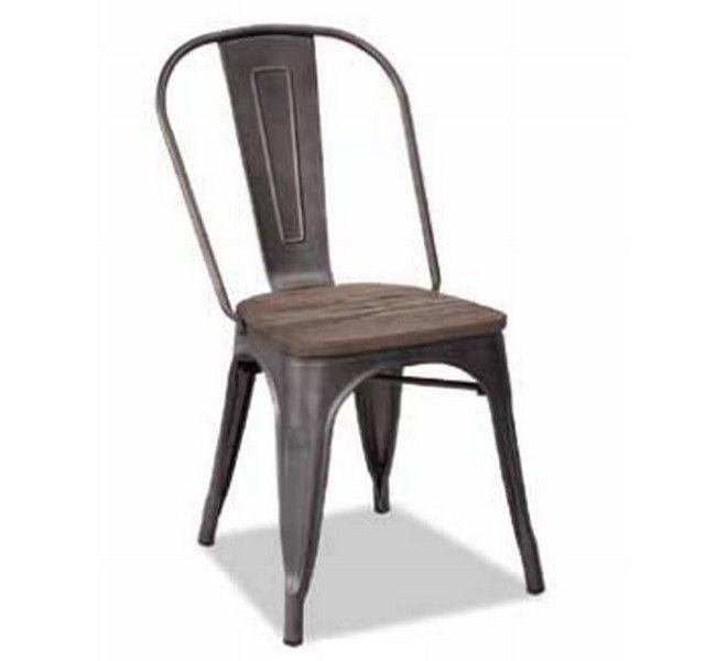 Lot de 4 Chaises métal gris et bois industrielle 'Industry' - 7313 Chaise Metal Industrielle on