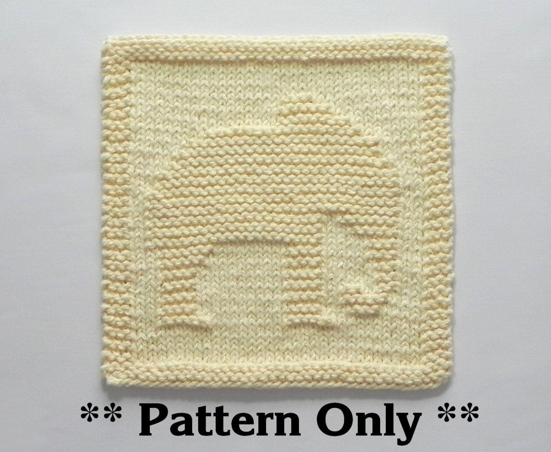Elephant Washcloth Knitting Pattern : ELEPHANT Knit Pattern - Knit Dishcloth or Knit Baby Wash ...