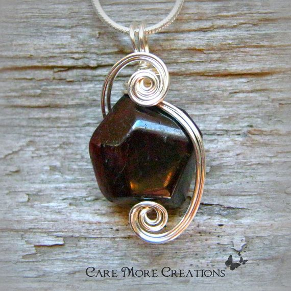 Genuine Garnet Wire Wrapped Pendant Necklace in Silver by CareMoreCreations.com, $29.00