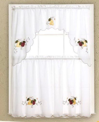 3pc White with Red Apple and Yellow Pear Kitchen/Cafe Curtain Tier ...