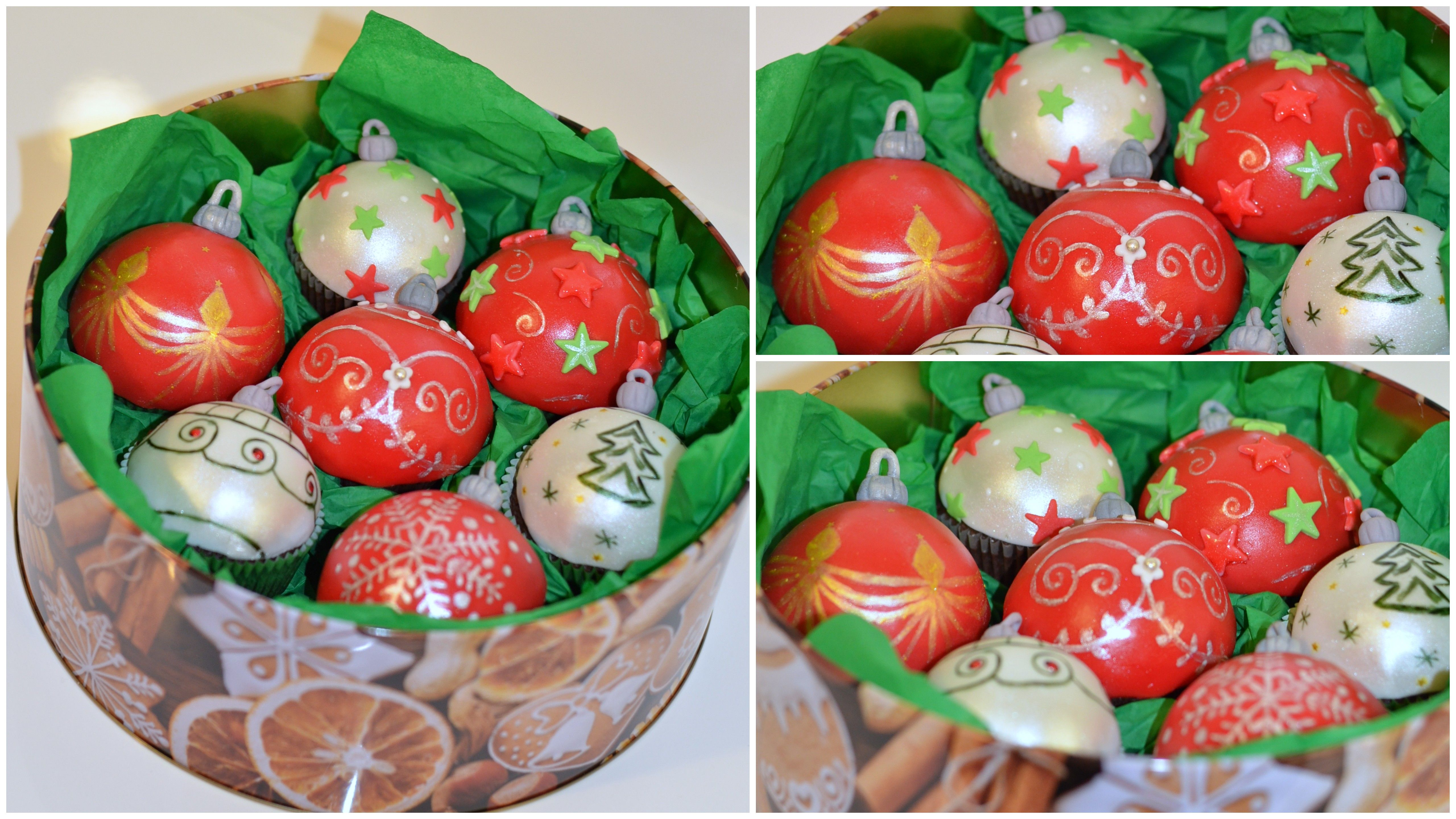 Christmas sweet gift box with cupcakes