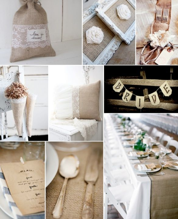 Who would ever think that combining burlap and lace would make for such an elegant pairing, yet with a rustic and country chic touch. I love the earthy tones of the burlap and how the material is rough and imperfect. It makes the lace feel that much more delicate. The blend of lace and burlap for your wedding decorations looks particularly stunning for an outdoor or country wedding ceremony and reception.