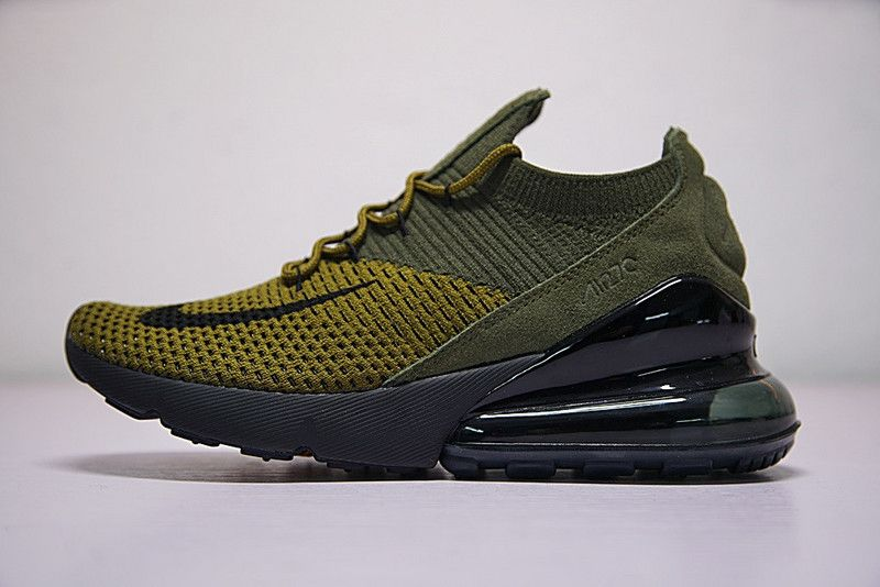 3760d491c8369 Nike Air Max 270 Flyknit AO1023 300 Boys Athletic Shoes Olive Green Black  White