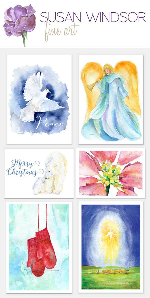 Watercolor Christmas Cards Printed On Quality Watercolor Paper By
