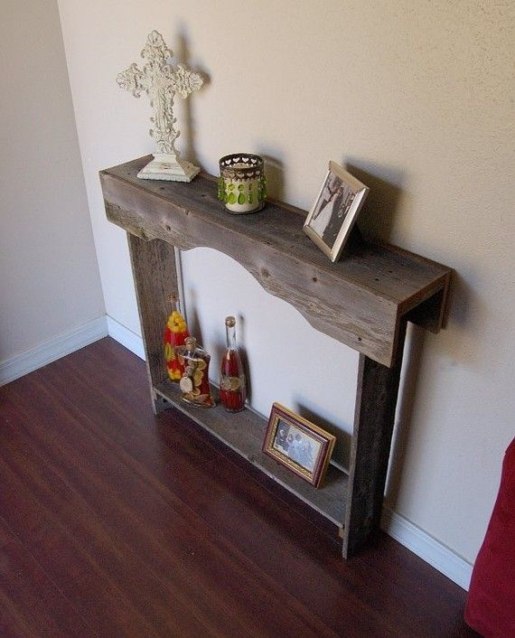 Skinny console table small entry table rustic furniture for Entry wall table
