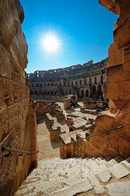 El Djem (lat: Thysdrus) Tunisia, Africa. Most impressive Roman ruins of a once prosperous city.