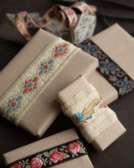 I love vintage ribbons, have collected them for years. Whenever I use them I never throw away the scraps, I keep them in a basket.That way whenever I wrap a small gift I can use the scape for that. - From sweetpaulmag.com