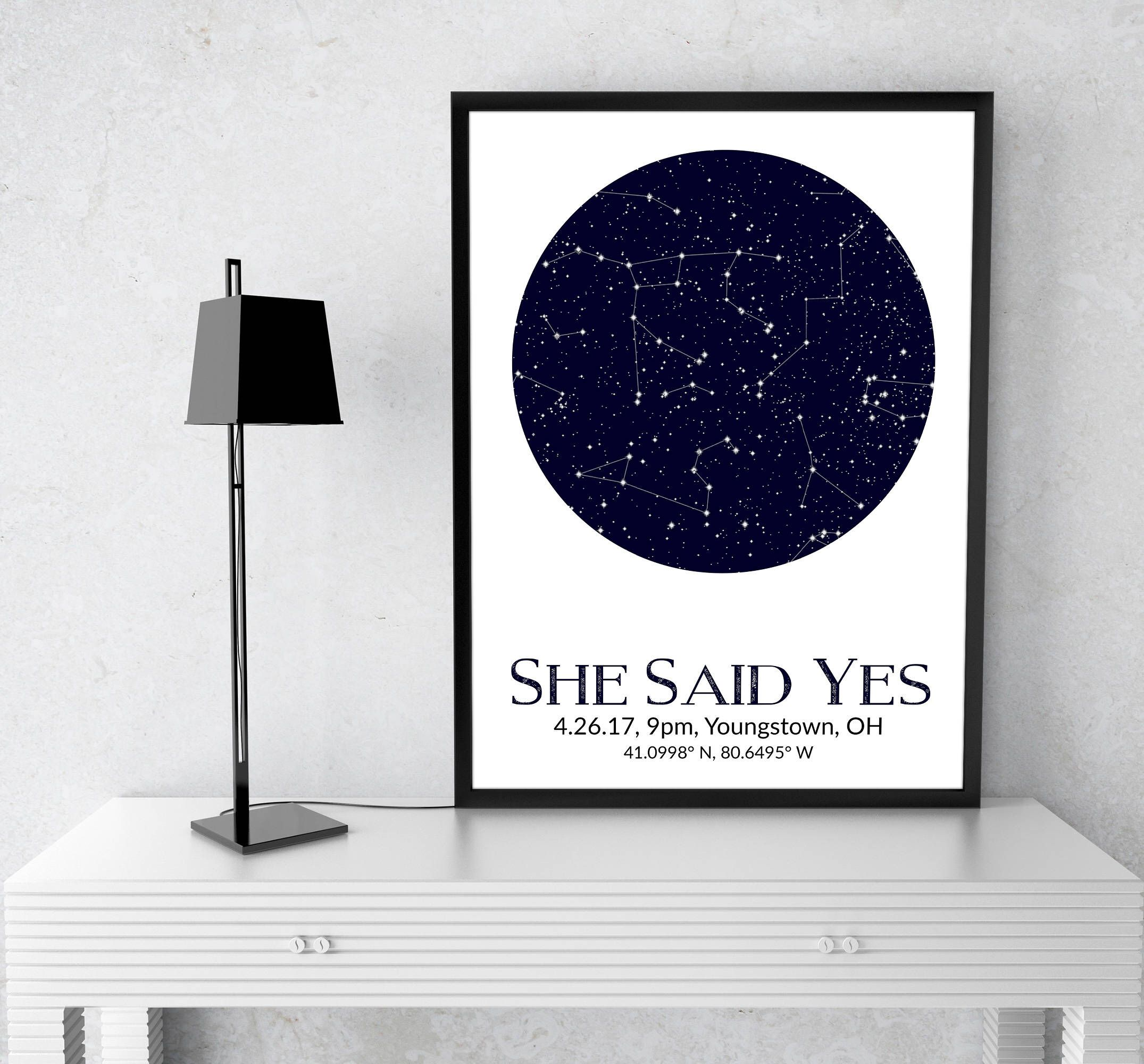 Maryland Map Coordinates%0A Custom Star Map  Engagement Gift  Constellation Map  Star Chart  She Said  Yes