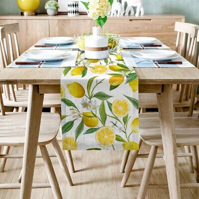 Cotton linen table runner, non slip design, not easy to move, modern and simple fashion design, you can match your tablecloth and let you enjoy meals with your family, friends. | East Urban Home Lemon Linen Burlap Dresser Scarves Table Runner For Kitchen Natural Fruit Wedding Decorations in Yellow, Size 90.0 W x 13.0 D in