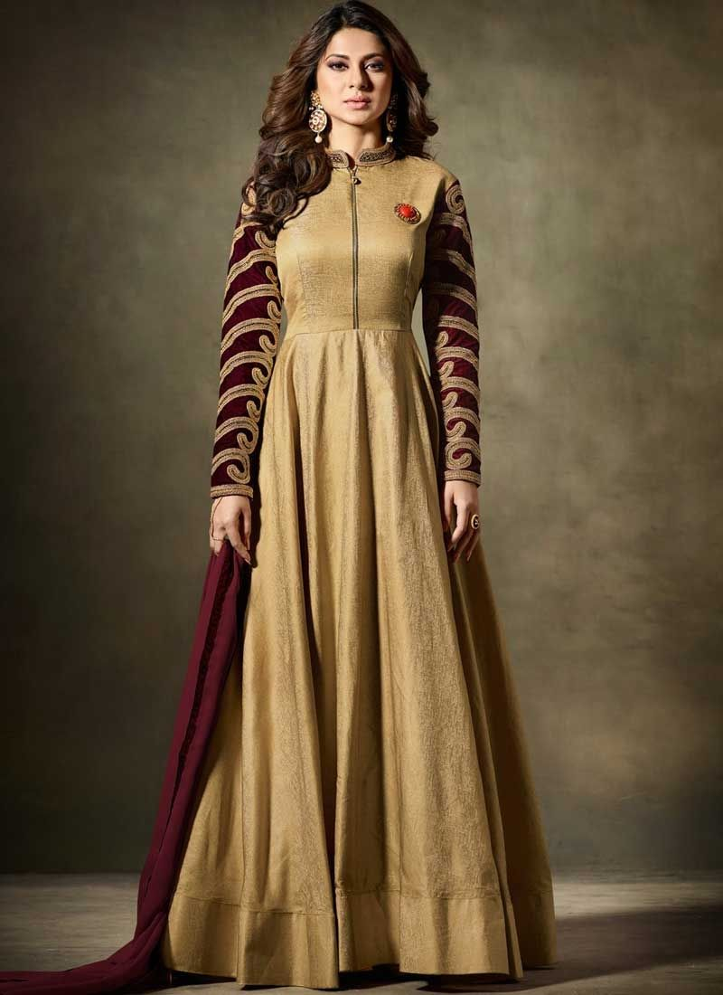 5d9aa019dd Buy Golden Silk Fabric Anarkali Suit Online