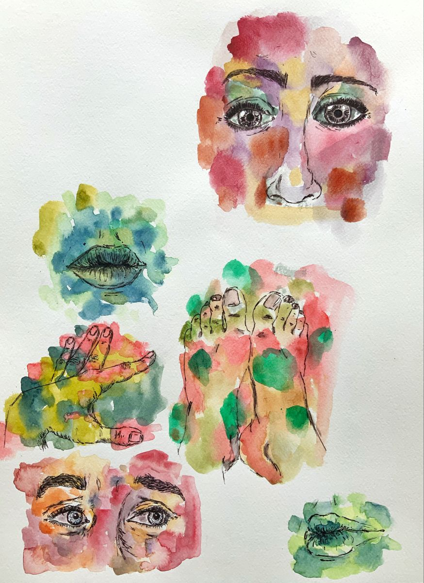 #aquarellepainting #aquarelle #orange #paint #painting #artist #artwork #emilie #peinture #dessin #corpshumain #bodydrawing #mouth #eyes #feetfetish #handmade