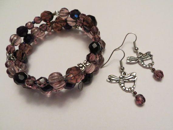 Purple dragonfly wrap bracelet and earrings by MyCreativeSideJewels