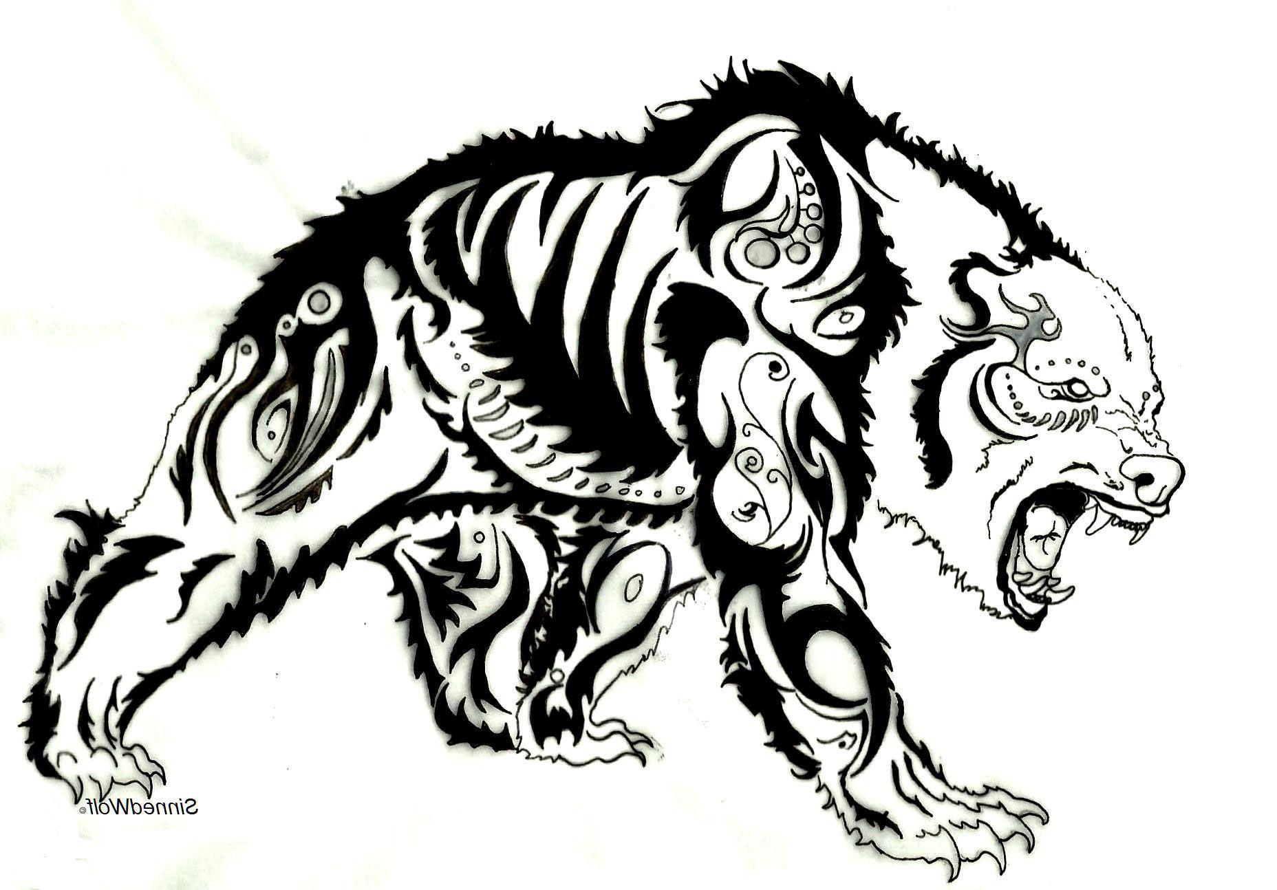 Tribal bear tattoo designs cool tattoos bonbaden for Cool tattoo drawings