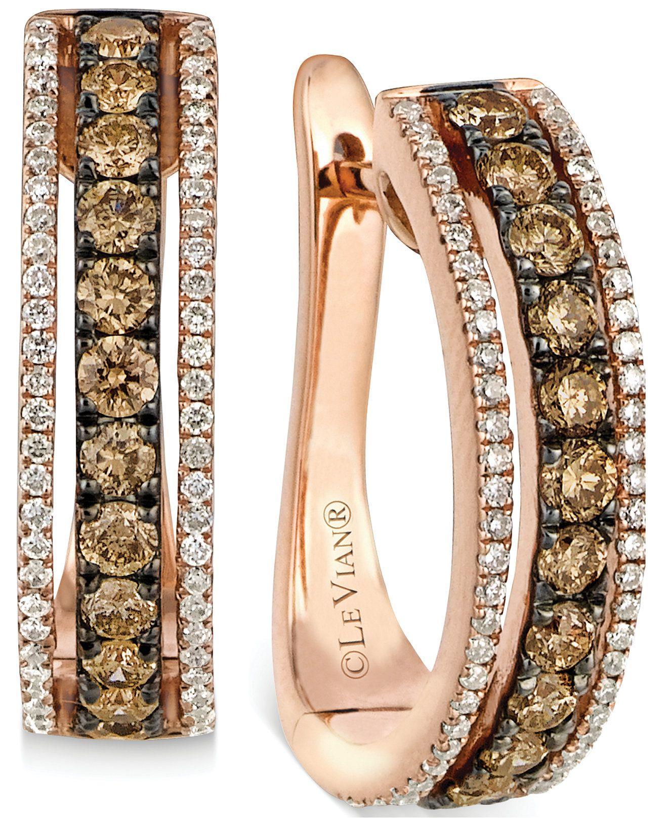 Le Vian Chocolate and White Diamond Hoop Earrings in 14k Rose Gold