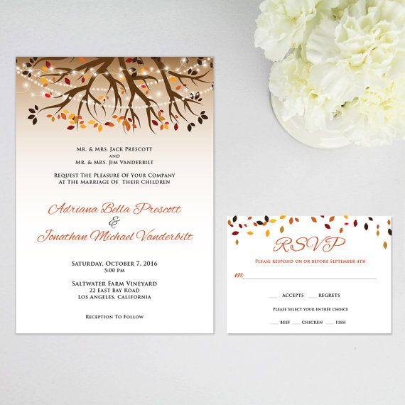 rustic fall twinkle string lights wedding invitation and rsvp