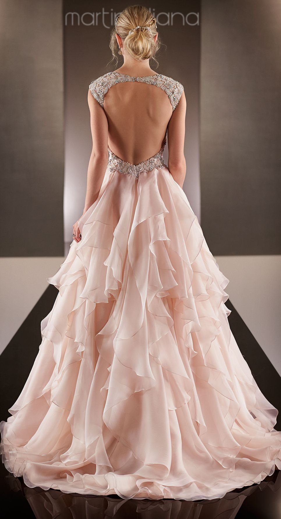 Backless wedding dress with illusion cap sleeves gowns