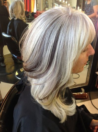 Grey Highlights On Natural Hair Adding Lowlights To Gray Hair White Hair With