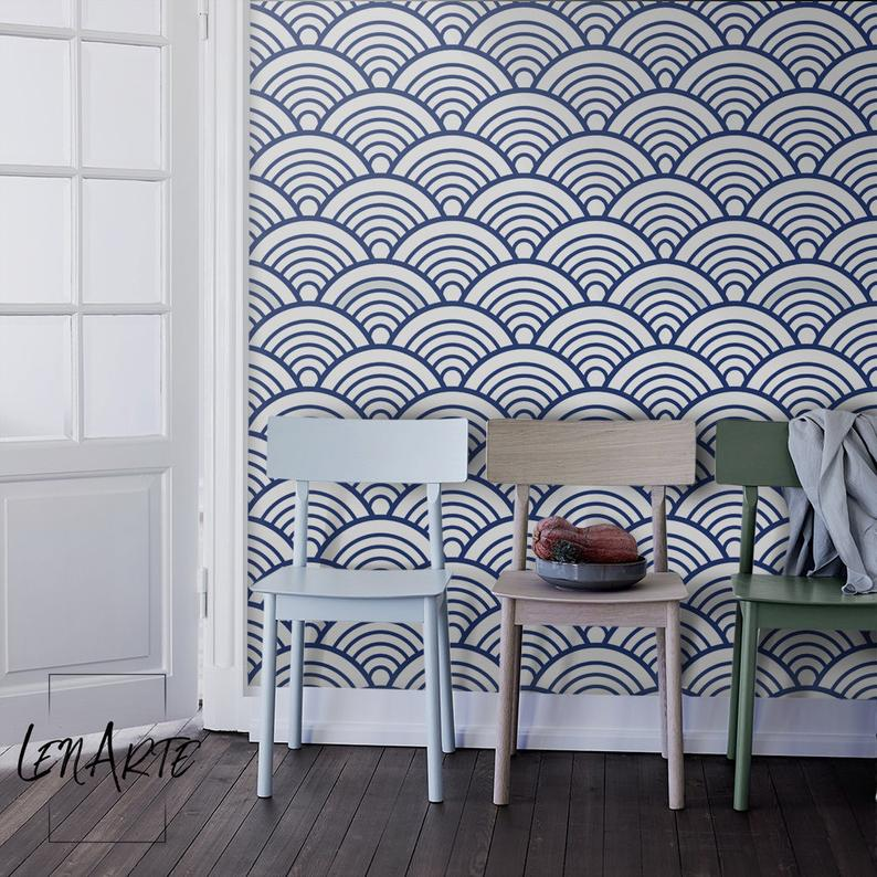 Blue Scallop Wallpaper Modern Pattern Removable Wallpaper Self Adhesive Peel And Stick Wall Covering Wall Decor Mural 57 Trong 2021