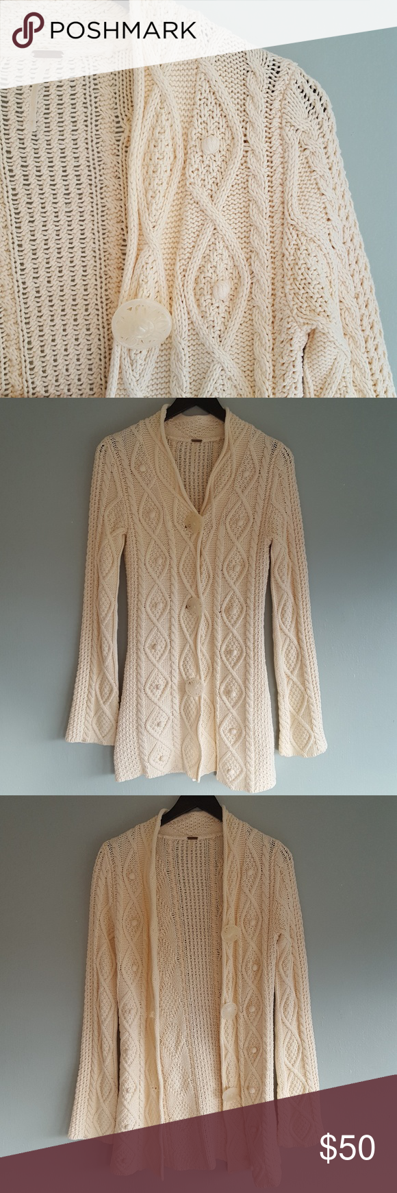 Free People Chunky Cable Knit Long Cardigan Gently used