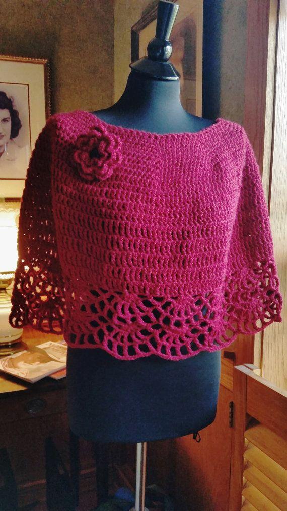 hand crochet capelet women shawl women poncho evening wrap woolblend ...