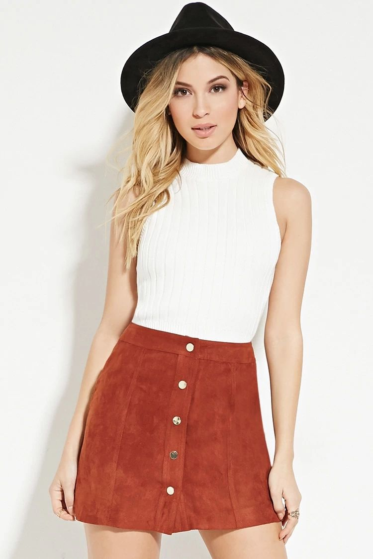 6b1fc43856 Buttoned Faux Suede Skirt