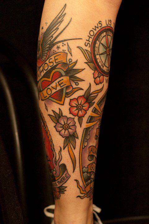 The Swallow Heart And Banner Leg Sleeve Part 4 Jason Monroe Ink