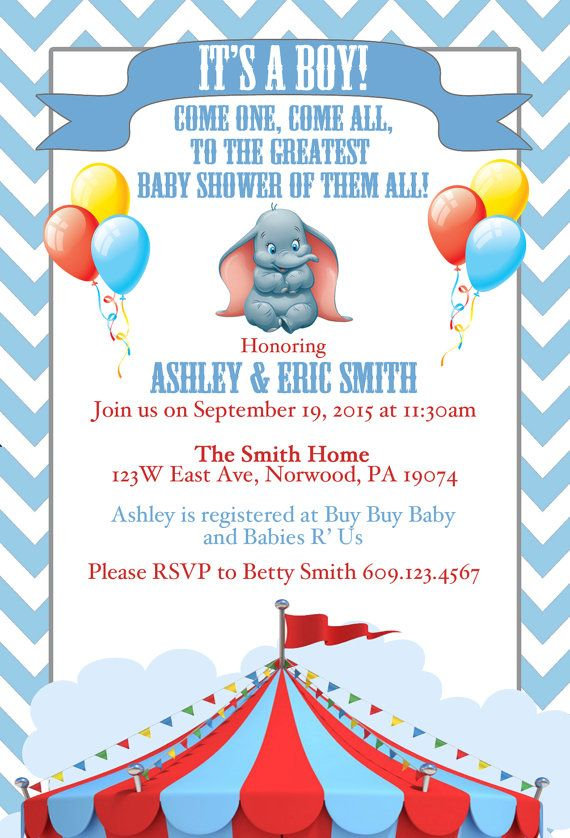 Disney Dumbo Baby Shower Invite By Srosadodesigns On Etsy