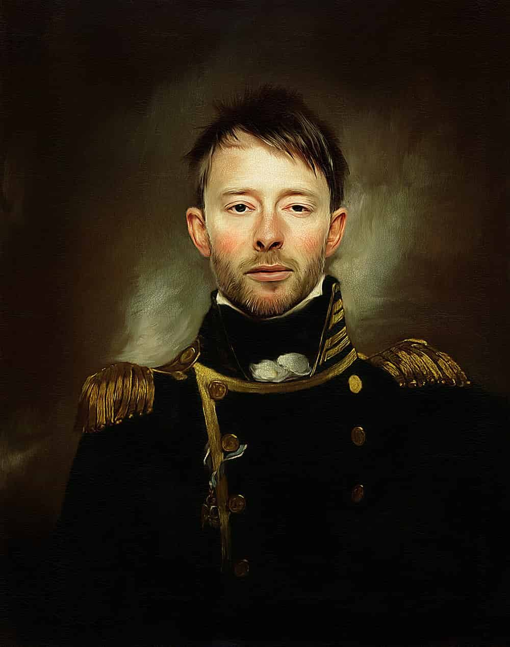 Thom Yorke Photoshop Portrait In Oils With Realistic Texture Portrait Photoshop Photoshop Painting Tutorial Photoshop Painting