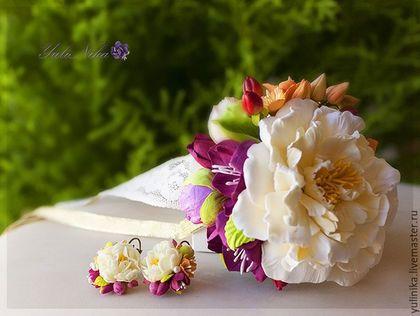 Свадебные украшения ручной работы. Ярмарка Мастеров - ручная работа. Купить Свадебные украшения с Пионом. Handmade. Оранжевый, вербейник