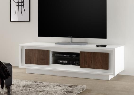 Luna Two Door Tv Stand Matt White Cognac In 2020 Modern Tv Units Contemporary Tv Stands Living Room Tv