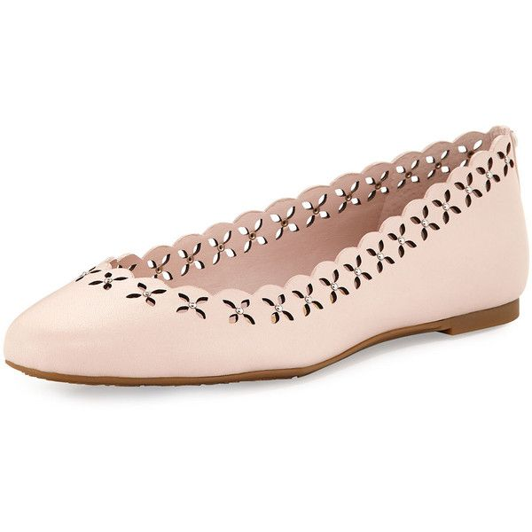 ac6161e7648e3 Michael Michael Kors Thalia Laser-Cut Leather Ballerina Flat (£105) ❤ liked  on Polyvore featuring shoes, flats, pink, studded ballet flats, floral flats,  ...