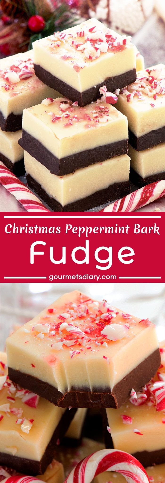 "Christmas Peppermint Bark Fudge - For the real taste of Christmas try Peppermint - Christmas Peppermint Bark Fudge – For the real taste of Christmas try Peppermint…  Christmas Peppermint Bark Fudge – For the real taste of Christmas try Peppermint Bark Fudge – ""After Eight"" and candy canes flavored, dark and white chocolate layered, no-bake adorable fudge! So easy and fast to make, 6 ingredients only!"