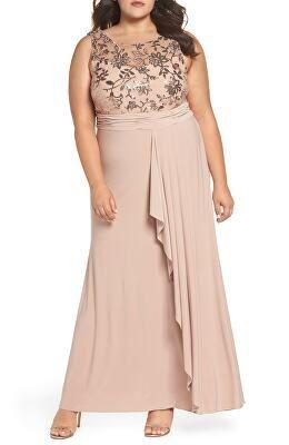 2342d5462902e Plus-Size New Arrivals. MORGAN   CO. Designer Sequin Lace Bodice Ruffle  Skirt Knit Gown