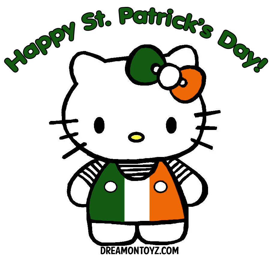 Happy St. Patrick\'s Day! - Hello Kitty wearing a hair bow and dress ...