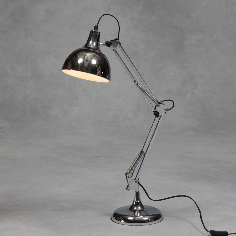 New Retro Chrome Desk Table Lamp Steel Silver Angle Multi Poise Large Vintage Uk Ebay