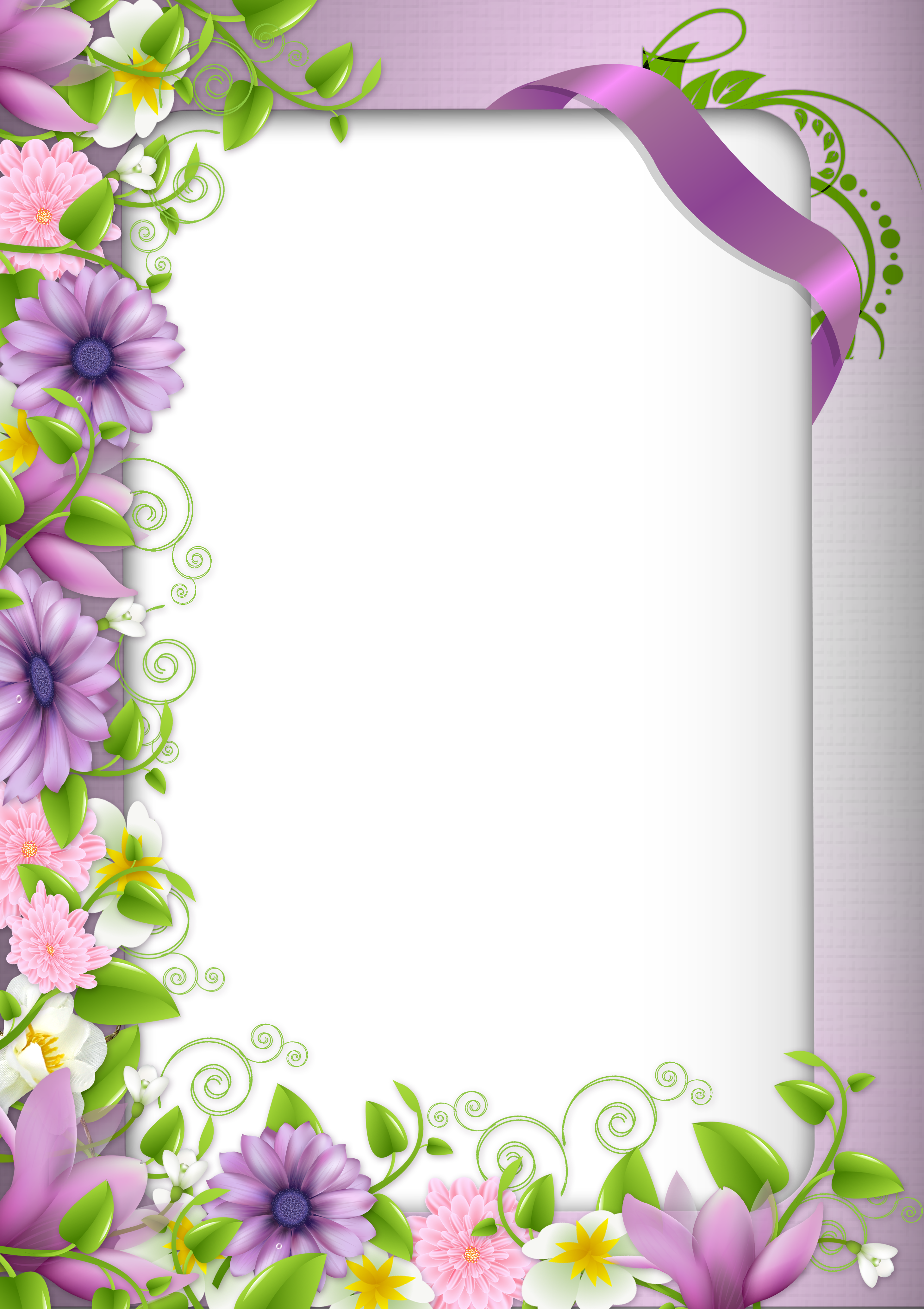 Transparent PNG Photo Frame with Purple Flowers | Bordered Paper ...