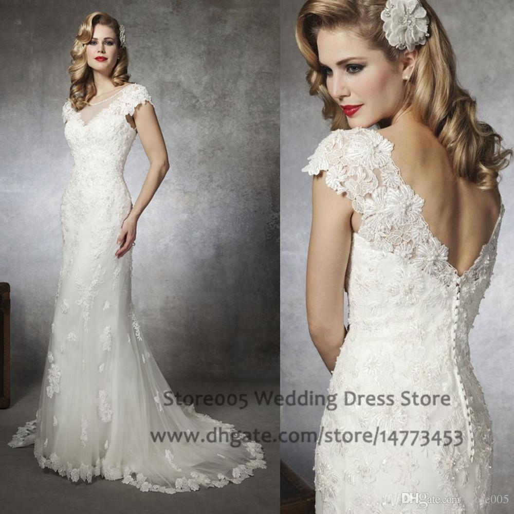 ivory vintage wedding dresses cap sleeve scoop lace mermaid