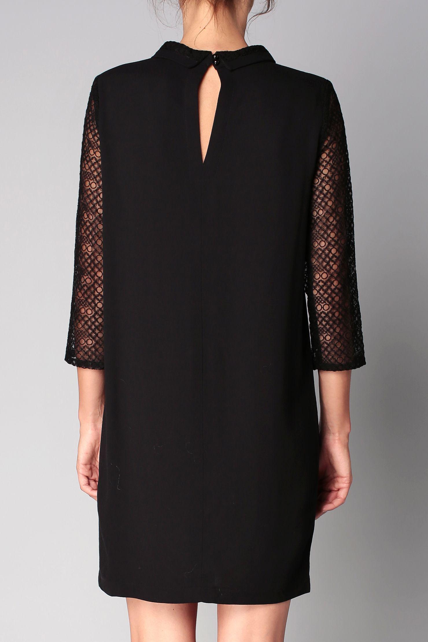 2f0d6b47dee Robe noire manches dentelle Vicky Sessun sur MonShowroom.com Plus