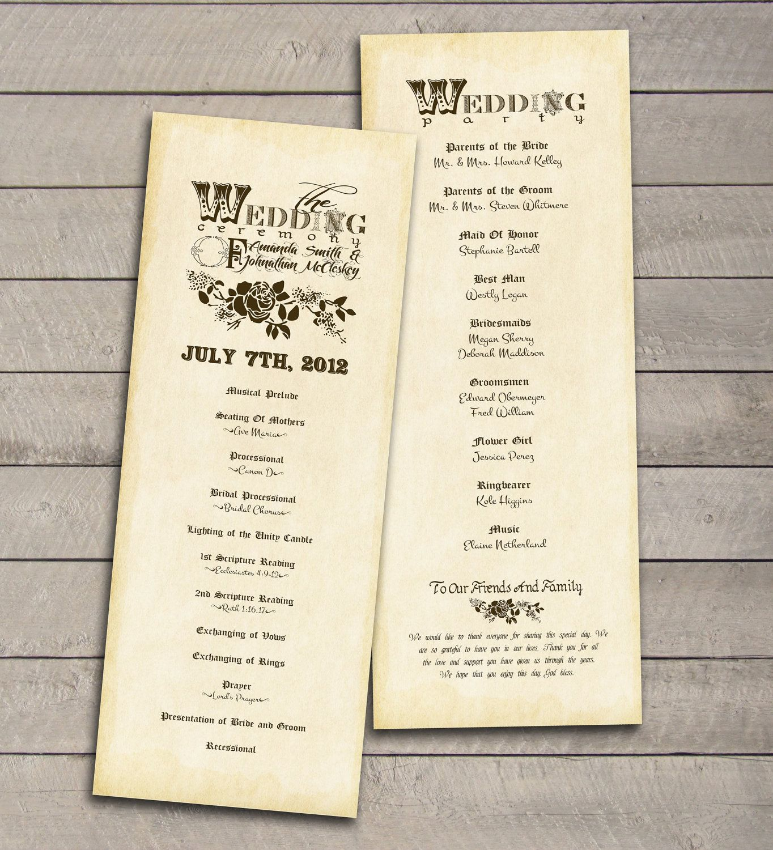 Vintage Wedding Program printable DIY by perfectlywhimsical ...