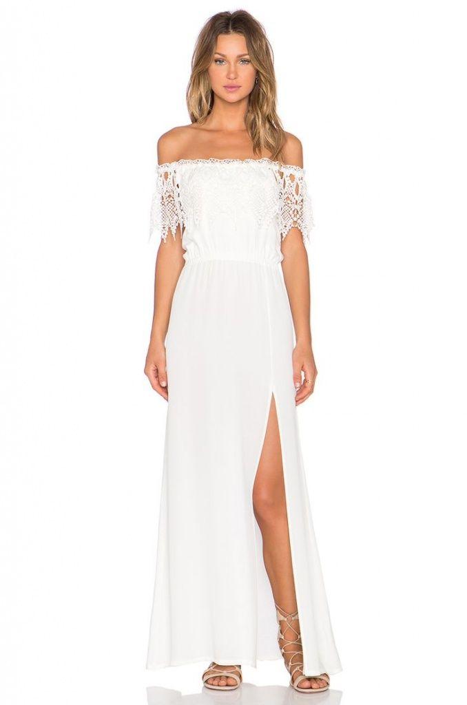 Robe longue blanche fendue