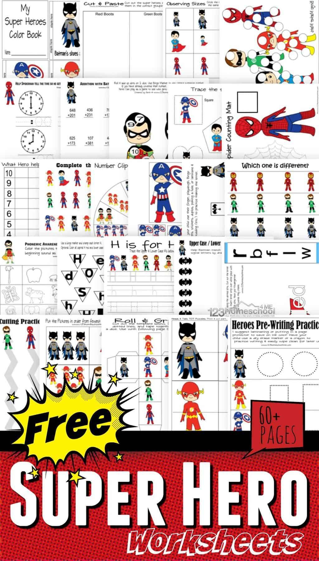 FREE Superhero Worksheets   Superhero preschool [ 1796 x 1024 Pixel ]